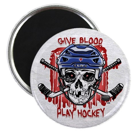 "Give Blood Hockey Blue 2.25"" Magnet (10 pack)"