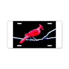 Red Cardinal on Branch Aluminum License Plate