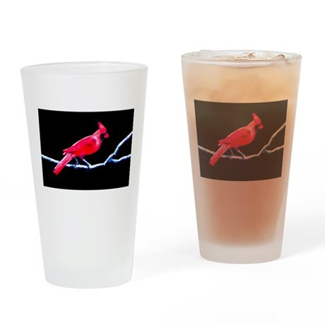 Red Cardinal on Branch Drinking Glass