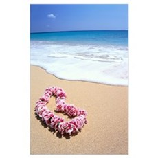 Pink Lei In Sand, Gentle Shore Waters, White Foam, Poster