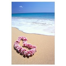 Pink Lei In Sand, Gentle Shore Waters, White Foam,