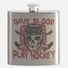 Give Blood Hockey Black Flask