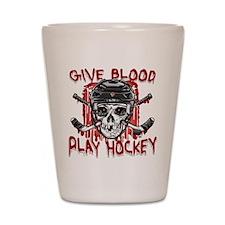 Give Blood Hockey Black Shot Glass