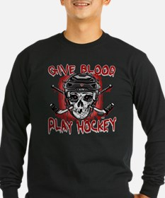 Give Blood Hockey Black T