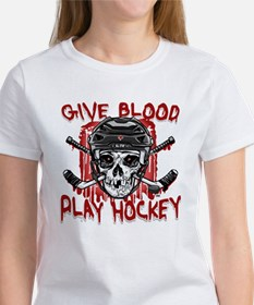 Give Blood Hockey Black Tee
