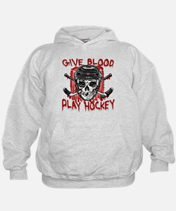 Give Blood Hockey Black Hoodie