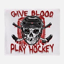 Give Blood Hockey Black Throw Blanket