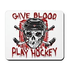 Give Blood Hockey Black Mousepad