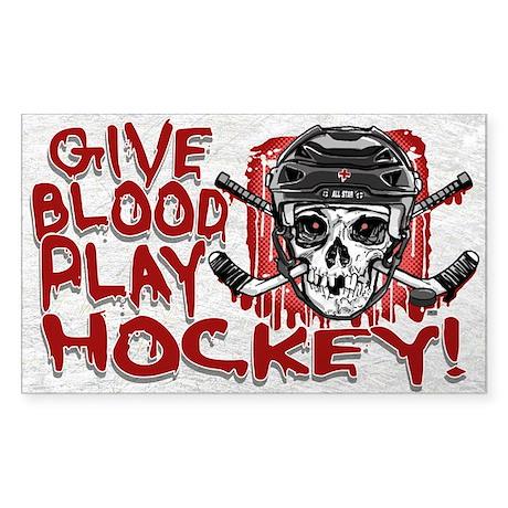 Give Blood Hockey Black Sticker (Rectangle)