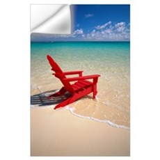 Red Beach Chair Along Shoreline, Turquoise Ocean Wall Decal