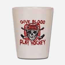Give Blood Hockey Red Shot Glass