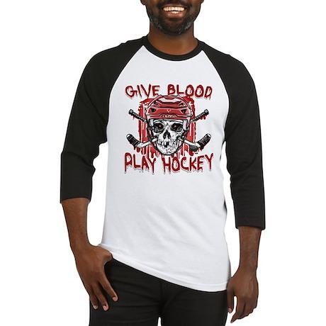 Give Blood Hockey Red Baseball Jersey