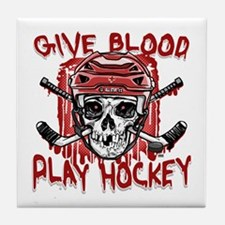 Give Blood Hockey Red Tile Coaster