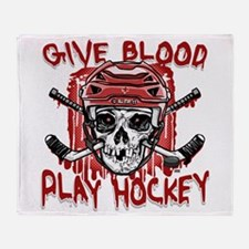 Give Blood Hockey Red Throw Blanket