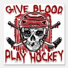 """Give Blood Hockey Red Square Car Magnet 3"""" x 3"""""""