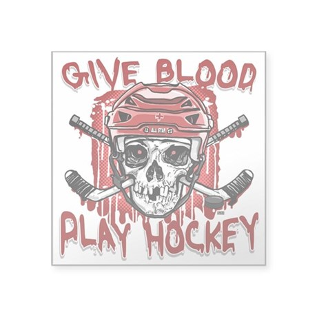 """Give Blood Hockey Red Square Sticker 3"""" x 3"""""""