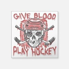 "Give Blood Hockey Red Square Sticker 3"" x 3"""