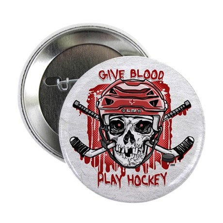"Give Blood Hockey Red 2.25"" Button"