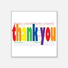 "Thank You Greeting Card Square Sticker 3"" x 3"""