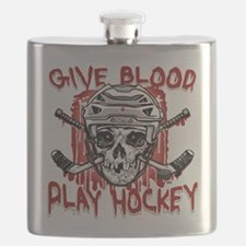 Give Blood Hockey White Flask