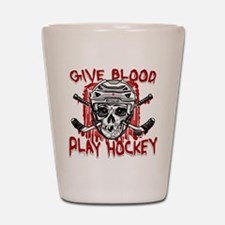 Give Blood Hockey White Shot Glass