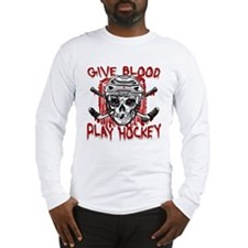 Give Blood Hockey White Long Sleeve T-Shirt