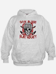 Give Blood Hockey White Hoodie