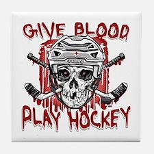 Give Blood Hockey White Tile Coaster