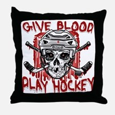 Give Blood Hockey White Throw Pillow