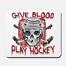 Give Blood Hockey White Mousepad