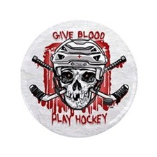 """Give Blood Hockey White 3.5"""" Button"""