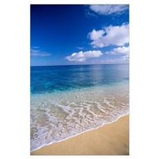 Wave Washes Ashore Onto Sandy Beach, Azure Ocean, Poster