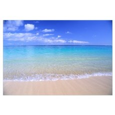 Clear Shoreline Ocean Water, Turquoise Horizon, Bl Framed Print