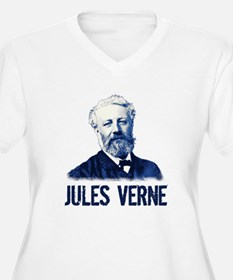 Jules Verne in Blue Plus Size T-Shirt