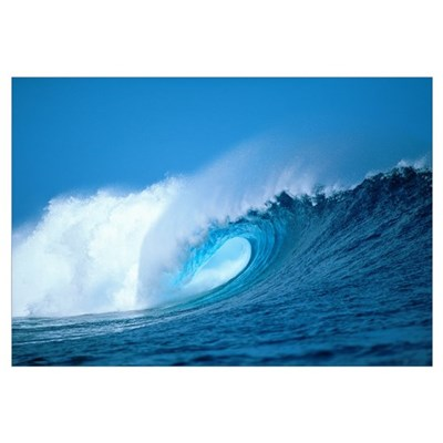 Hawaii, Powerful Curling Wave, Whitewash And Spray Canvas Art