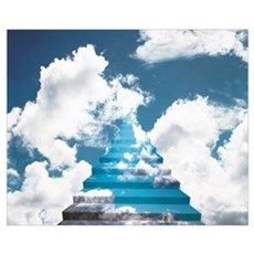 Staircase into Cloudy Sky Poster