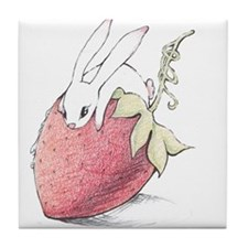 Strawberry Bunny Tile Coaster