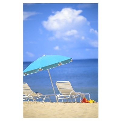 Pair Of Beach Chairs And An Umbrella On White Sand Poster