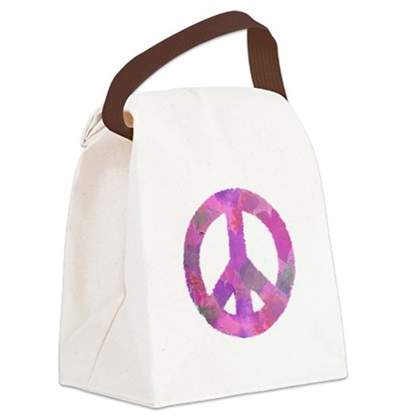 PURPLE HEART PEACE SIGN Canvas Lunch Bag
