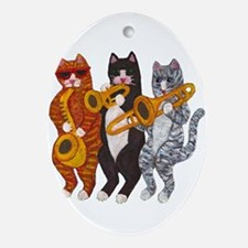 Cat Brass Section Ornament (Oval)