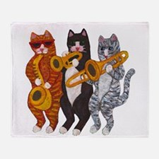 Cat Brass Section Throw Blanket