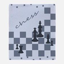 Chess King and Pieces Throw Blanket