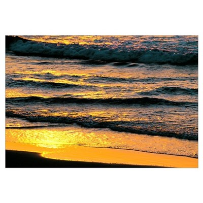 Sunset Light on Waves at Beach Poster