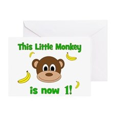 This Little Monkey is Now 1! with Bananas Greeting