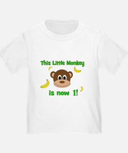 This Little Monkey is Now 1! with Bananas T-Shirt