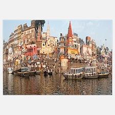 Temples at the riverbank, Ganges River, Varanasi,