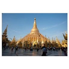 Tourists at the courtyard of a pagoda, Shwedagon P Poster