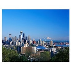 Washington, Seattle Skyline With Space Needle And Poster