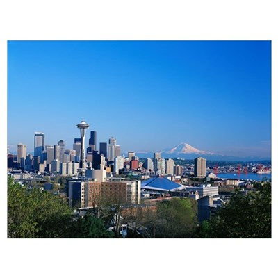 Washington, Seattle Skyline With Space Needle And Canvas Art