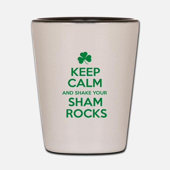 Keep Calm and Shake your Shamrocks Green Shot Glas